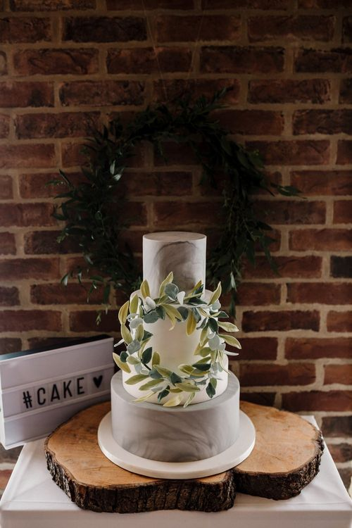 Grey, White & Green Wedding Cake | Marble Layer | Intimate Greenery Wedding at Packington Moore Rustic Wedding Venue | Amy Faith Photography | Floodgate Films