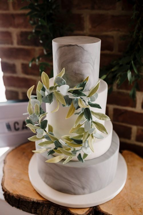 Marble Tier Wedding Cake | Intimate Greenery Wedding at Packington Moore Rustic Wedding Venue | Amy Faith Photography | Floodgate Films