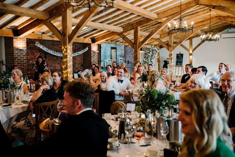 Wedding Reception | Intimate Greenery Wedding at Packington Moore Rustic Wedding Venue | Amy Faith Photography | Floodgate Films
