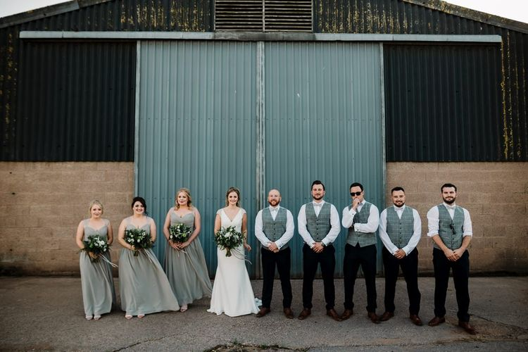 Wedding Party | Bridesmaids in Grey Green Chiffon Dresses | Bride in 'Milan' St Patrick Bridal Gown | Groomsmen in Tweed Waistocoats | Intimate Greenery Wedding at Packington Moore Rustic Wedding Venue | Amy Faith Photography | Floodgate Films