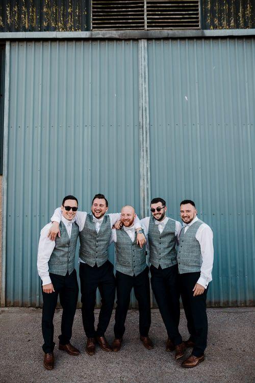 Groomsmen Grey Tweed Waistcoats | Intimate Greenery Wedding at Packington Moore Rustic Wedding Venue | Amy Faith Photography | Floodgate Films