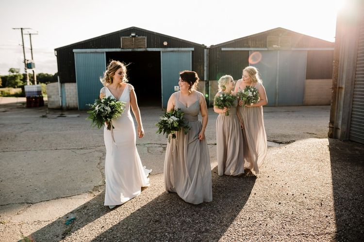 Bridal Party | Bridesmaids in Grey Green Chiffon Dresses | Bride in 'Milan' St Patrick Bridal Gown | Intimate Greenery Wedding at Packington Moore Rustic Wedding Venue | Amy Faith Photography | Floodgate Films