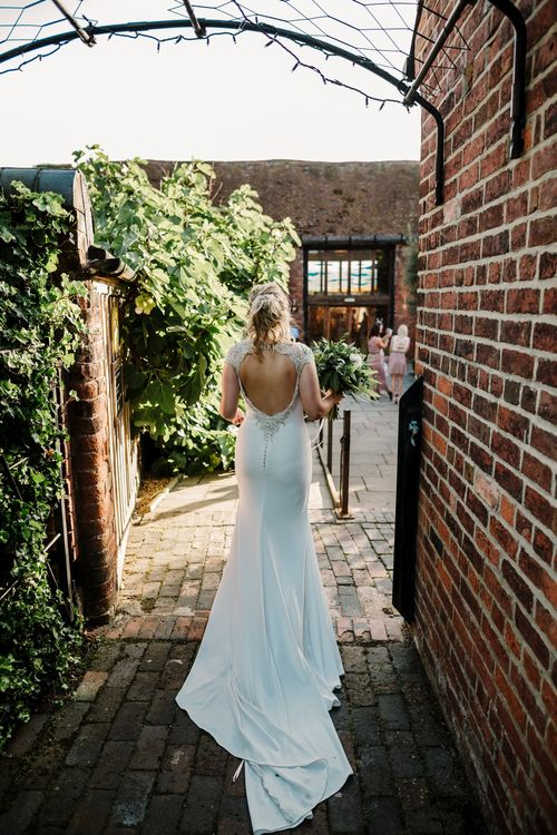 Bride in Backless 'Milan' St Patrick Bridal Gown | Intimate Greenery Wedding at Packington Moore Rustic Wedding Venue | Amy Faith Photography | Floodgate Films