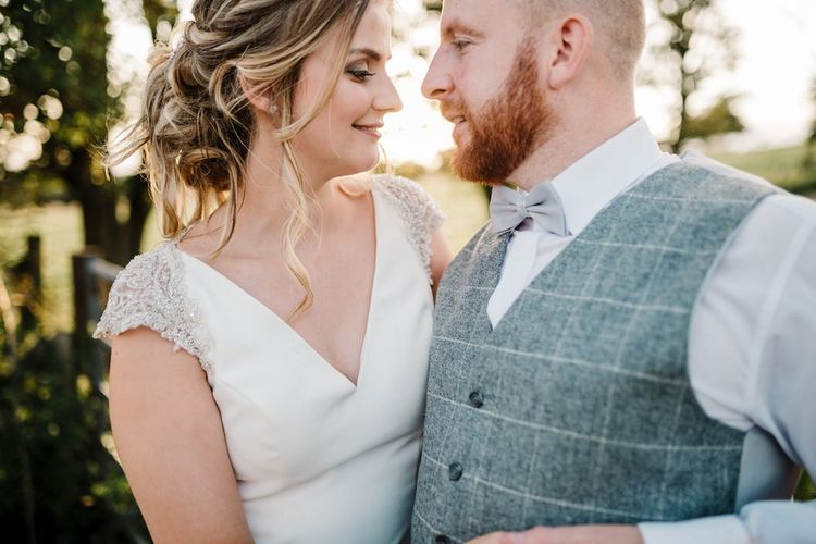 Bride in 'Milan' St Patrick Gown | Groom in Grey Tweed Waistcoat | Intimate Greenery Wedding at Packington Moore Rustic Wedding Venue | Amy Faith Photography | Floodgate Films