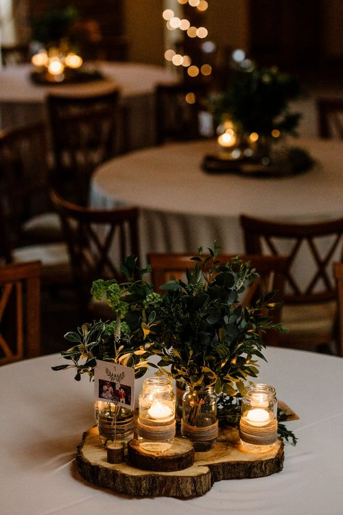Rustic Table Wedding Decor with Foliage & White Floral Centrepieces | Intimate Greenery Wedding at Packington Moore Rustic Wedding Venue | Amy Faith Photography | Floodgate Films
