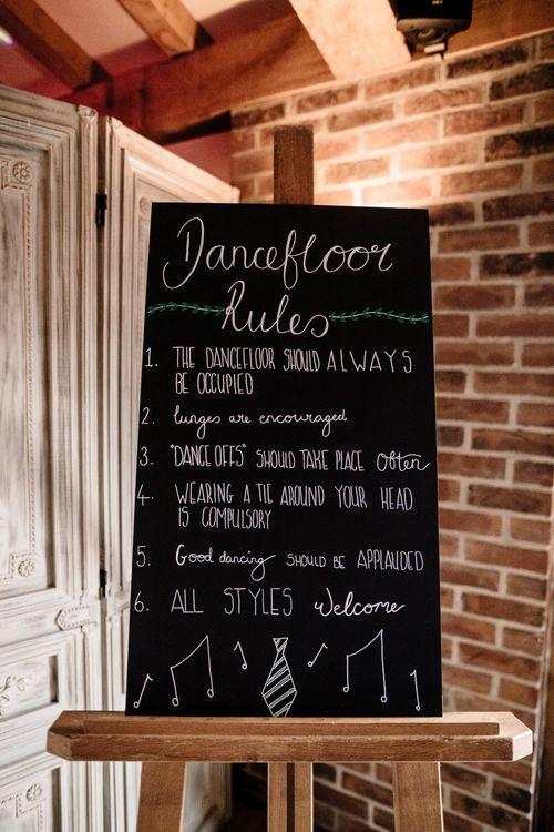 Chalkboard Dance Floor Rules Wedding Sign | Intimate Greenery Wedding at Packington Moore Rustic Wedding Venue | Amy Faith Photography | Floodgate Films