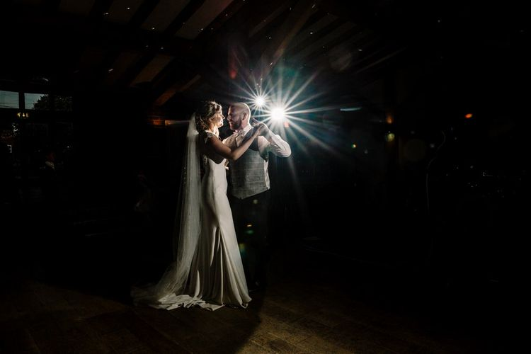 First Dance | Bride in 'Milan' St Patrick Gown | Groom in Grey Tweed Waistcoat | Intimate Greenery Wedding at Packington Moore Rustic Wedding Venue | Amy Faith Photography | Floodgate Films
