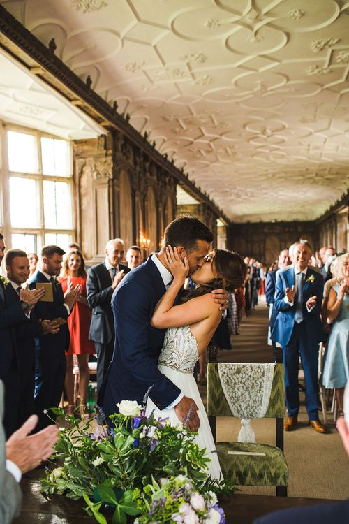 The Kiss. A Bank Holiday Extravaganza. Ceremony at Haddon Hall, Derbyshire