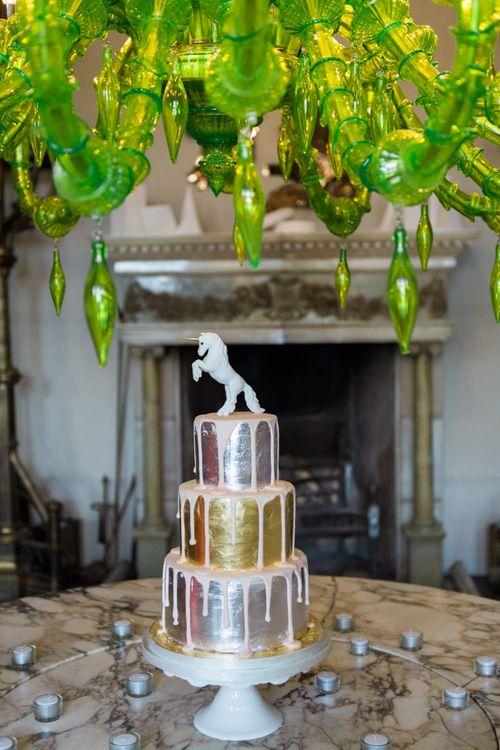 Metallic Drip Icing Wedding Cake with Unicorn Figurine Wedding Cake Topper