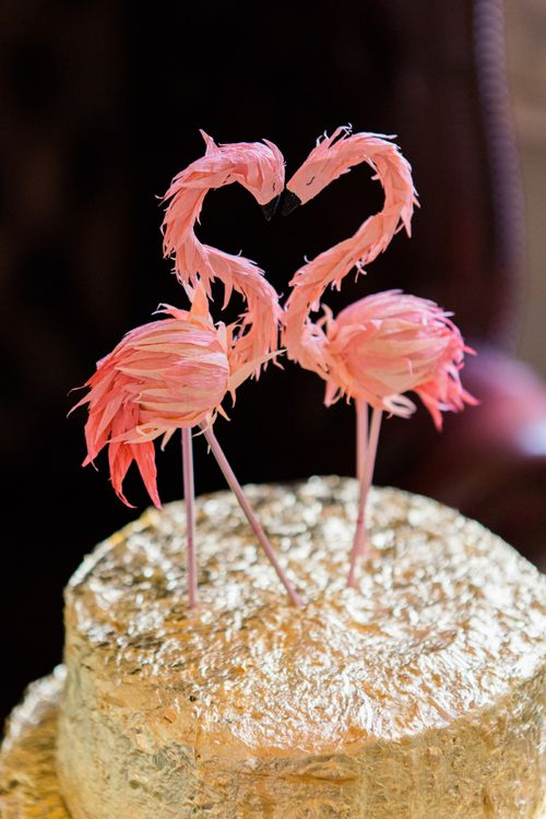 Gold Foil Wedding Cake with Pink Flamingo Wedding Cake Toppers