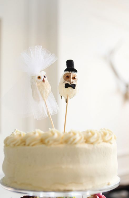 Owl Bride and Groom Wedding Cake Toppers