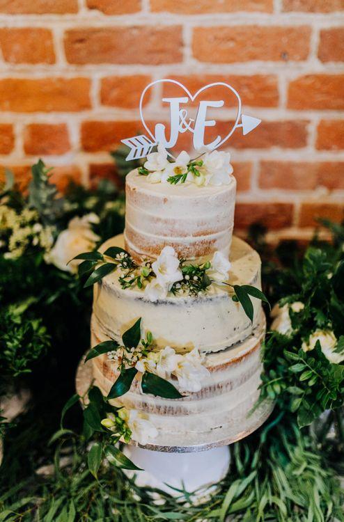 Heart & Cupid's Arrow Lasercut Wedding Cake Topper