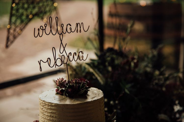 Wire Entwined Personalised Wedding Cake Topper