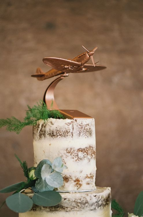 Copper Spray Painted RAF Spitfire Wedding Cake Topper on a Semi Naked Cake