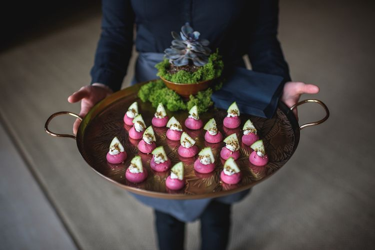 Beetroot Wedding Canapes by Jacaranda Catering Image by Guy Collier