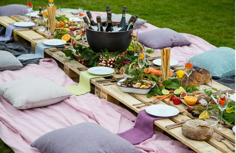 Rustic Wedding Breakfast on the Lawn by Bespoke Catering & Events