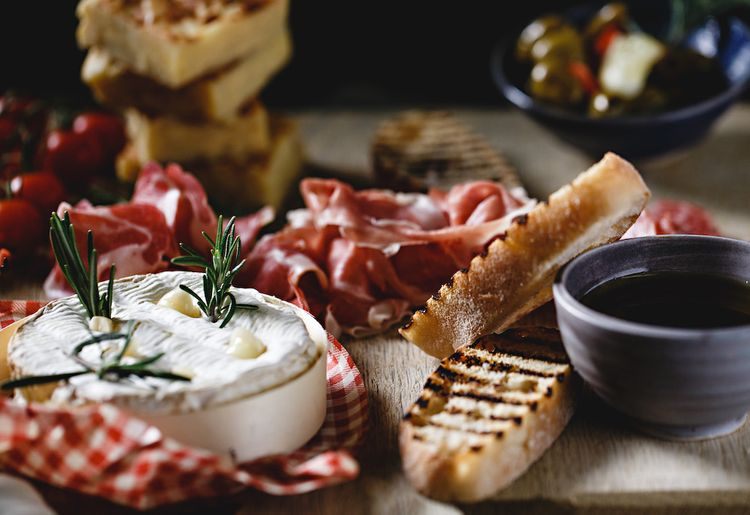 Baked Camembert Wedding Grazing Table by Kemp and Kemp