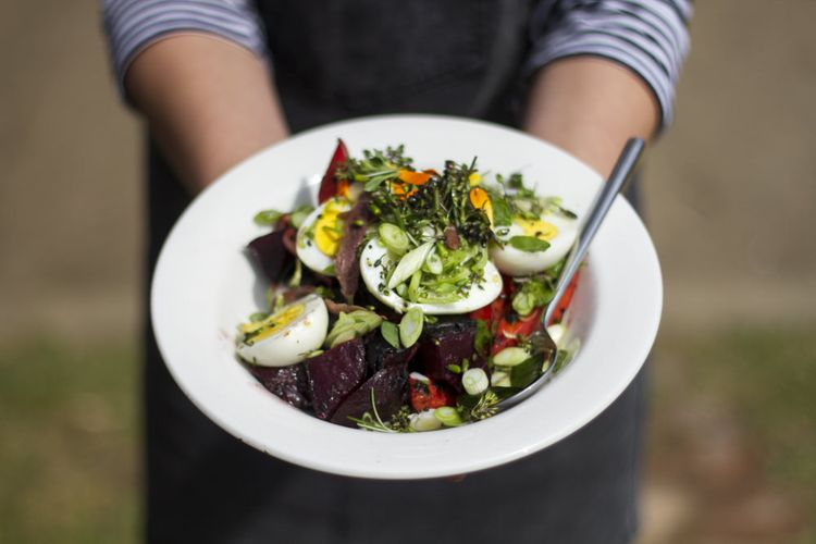 Wedding Breakfast Salad by Woodfired Weddings