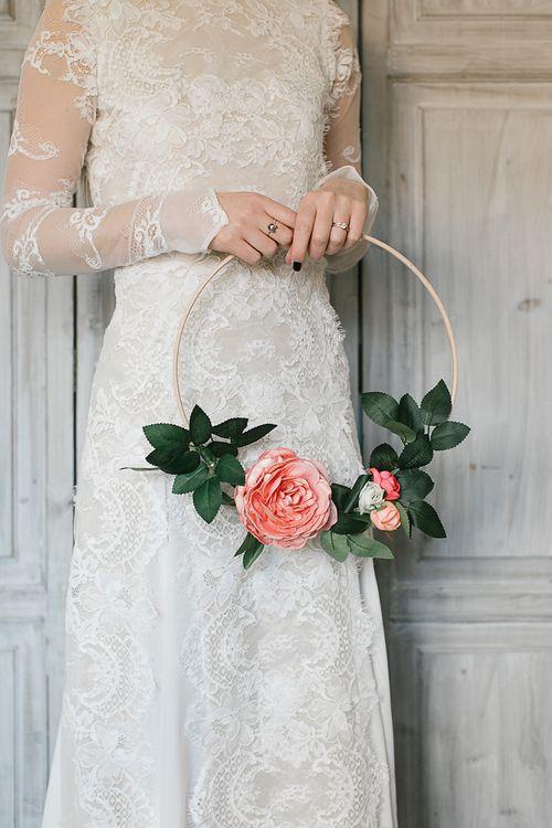 DIY Flower Hoop Wedding Bouquet