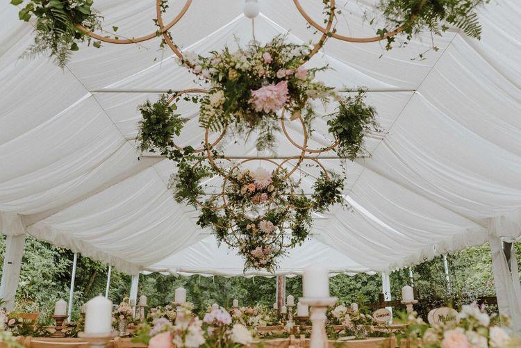 Hanging Floral Wedding Hoop Installation Image by Nick WalkerPhotography