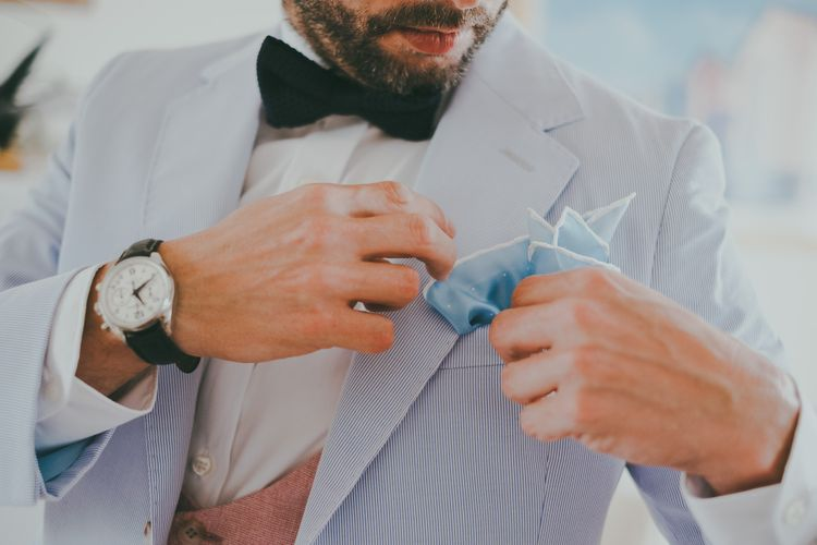 Groom In Baby Blue Suit // Image By Ross Talling Photography