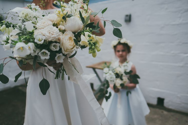 Flower Girl In White Dress With Flower Crown // Image By Ross Talling Photography