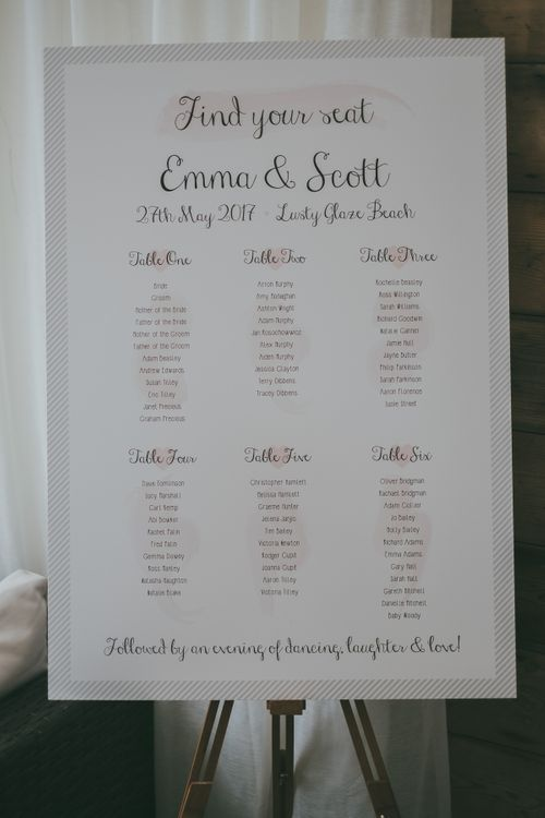 Wedding Table Plan // Image By Ross Talling Photography