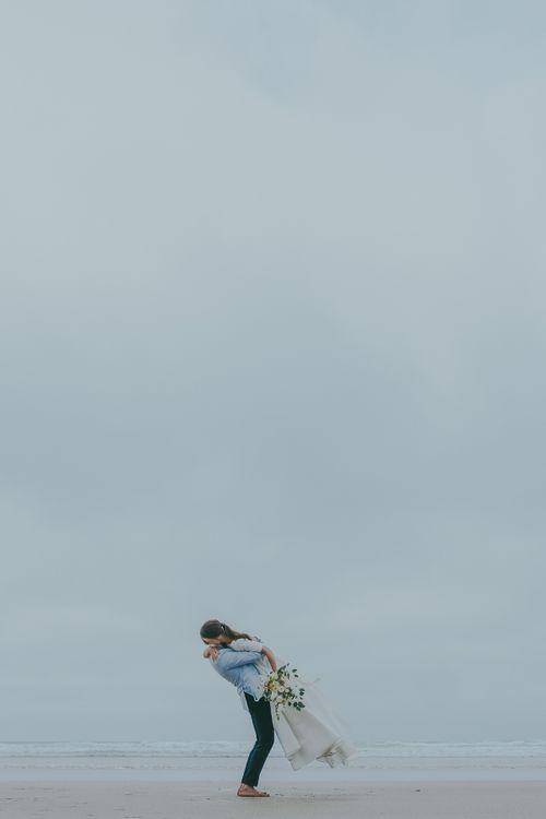 Lusty Glaze Beach Wedding // Image By Ross Talling Photography