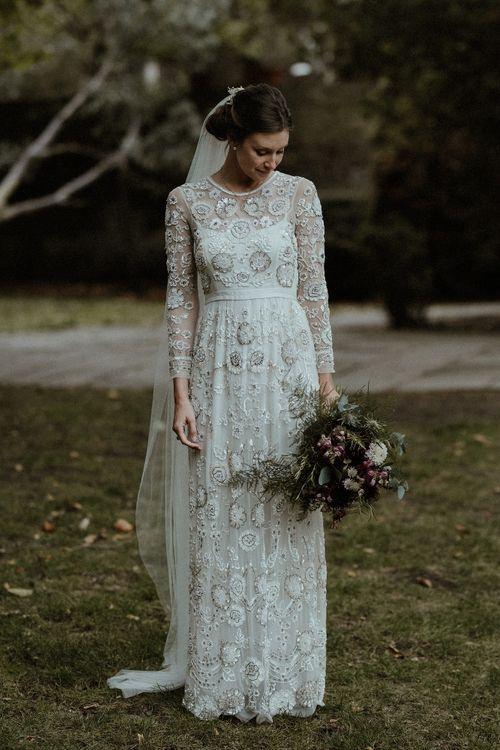 Bride in Beaded Needle & Thread Wedding Dress