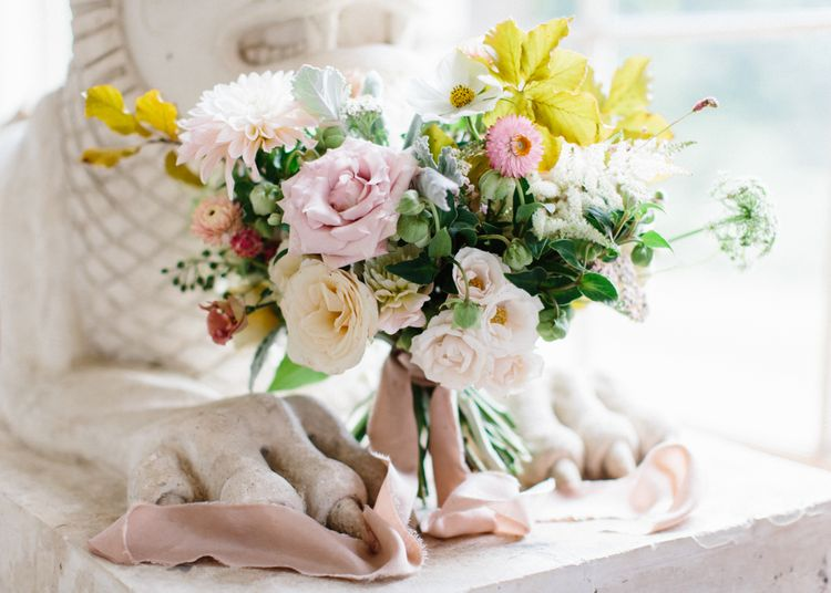 Romantic Wedding Bouquet with Ribbons