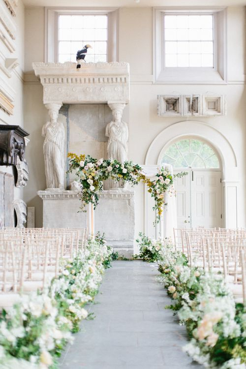 Wedding Aisle Flowers with Floral Arch Altar