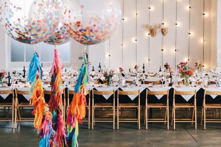 Colourful Giant Balloons Full of Confetti with Tissue Tassel String