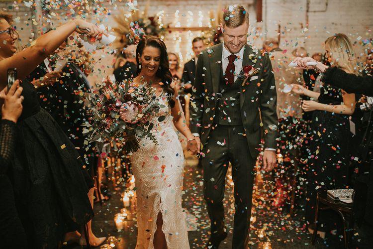 Bride and Groom Confetti Moment