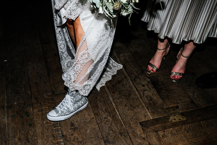 Jewel Encrusted Converse | Bride in Charlie Brear Delancey Gown & Belt | Quirky Pub Wedding at The Bell in Ticehurst East Sussex | Epic Love Story Photography