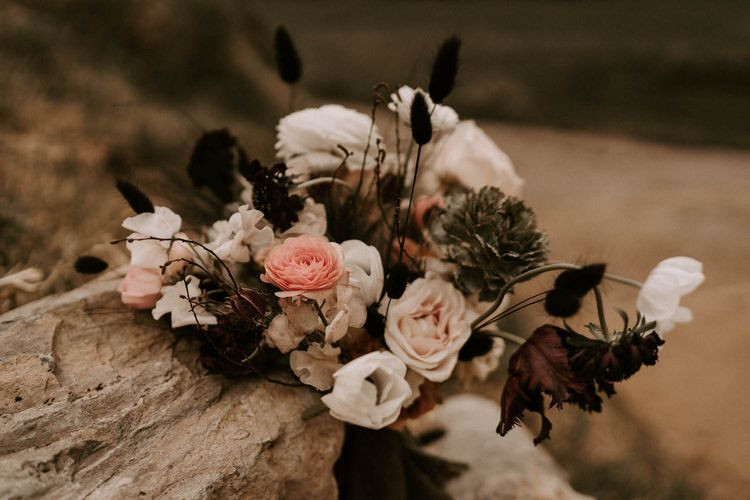 Deep Purple, Coral and Cream Floral Wedding Bouquet