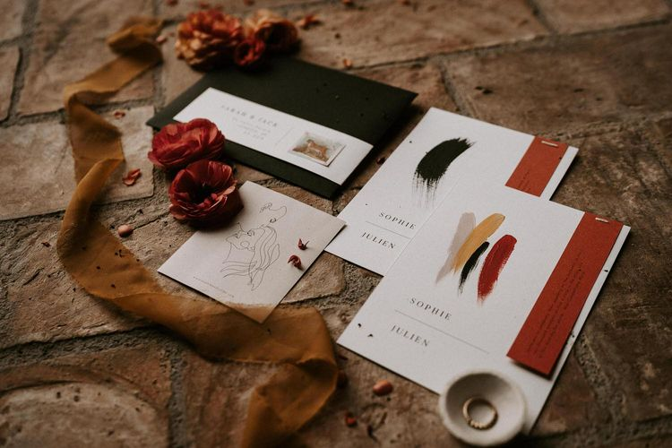 Contemporary Black, White and Rust Wedding Stationery Suite by Better With Co