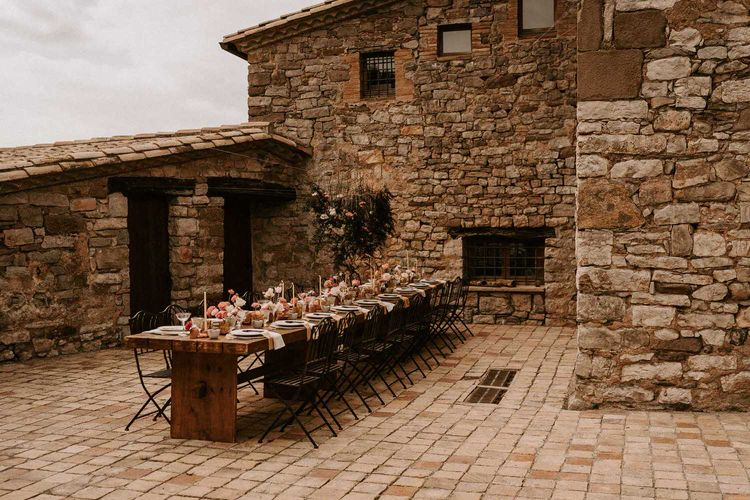 Outdoor Tablescape in Courtyard of This Must Be The Place Barcelona Wedding Venue