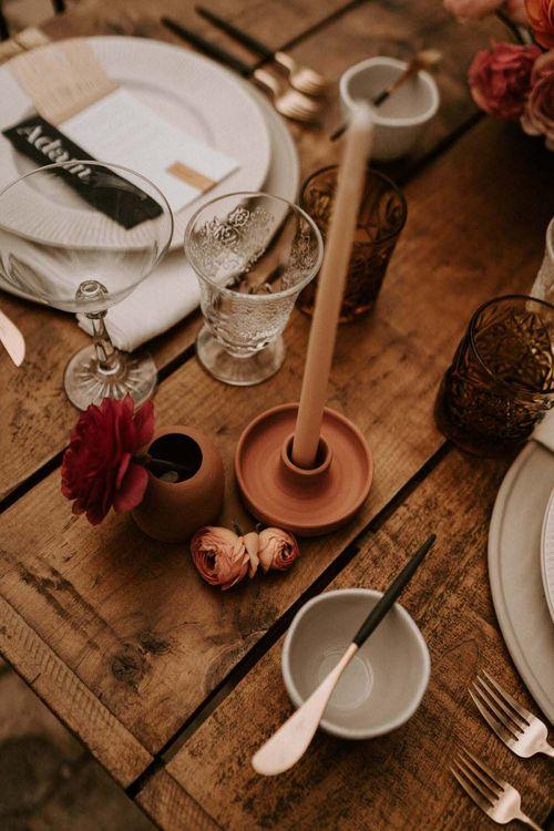 Terracota Ceramic Candlestick Holder
