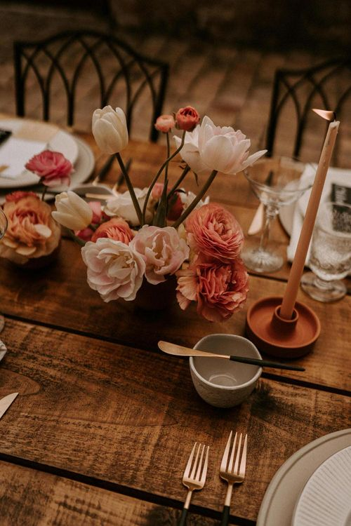 Pink and Coral Wedding Flower Centrepieces