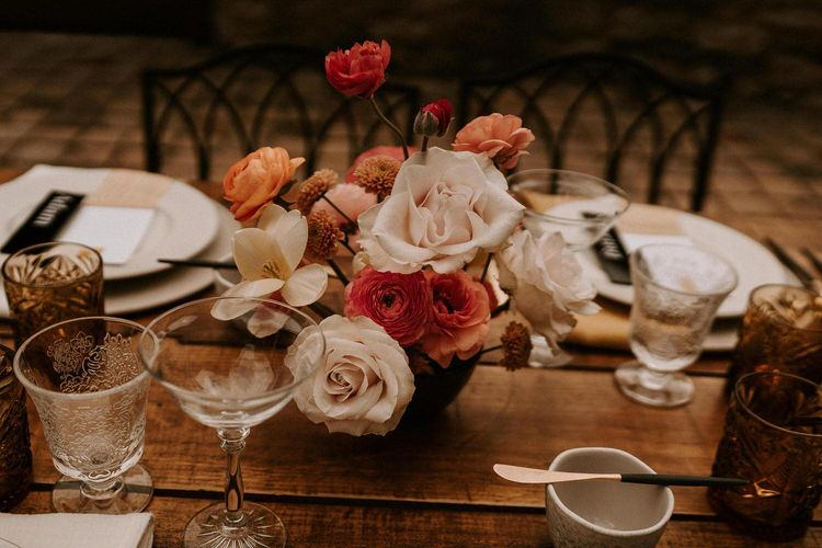 Blush Pink and Coral Wedding Flower Centrepieces