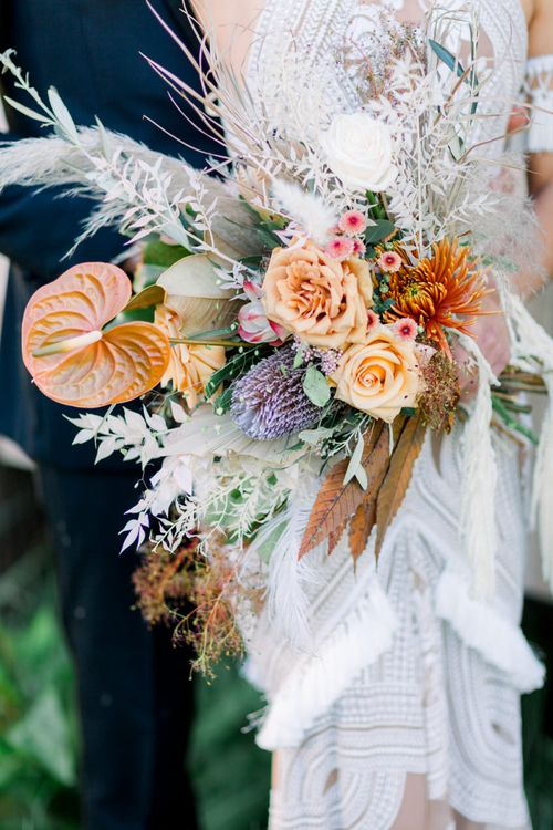 Peach, Orange and Dried Flower Wedding Bouquet with Roses and Protea's