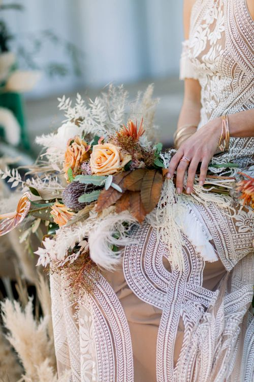 Dried Flower, Grasses and Foliage Wedding Bouquet with Orange Roses and Proteas