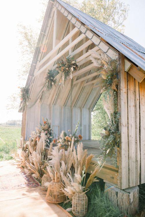 Dried Pampas Grass Wedding Flowers in Wicker Baskets