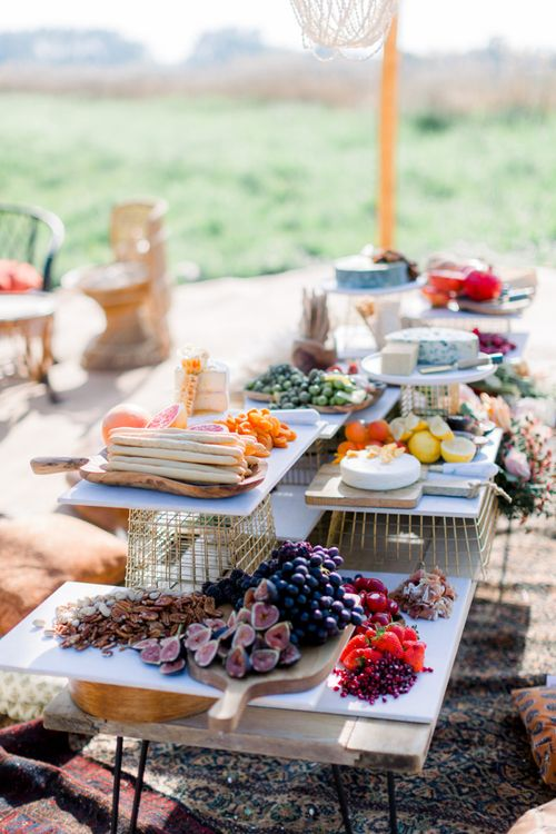 Grazing Table with Cheeses, Breadsticks, dried and Fresh Fruit