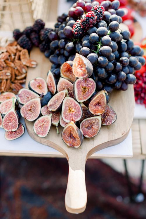 Wooden Platter with Figs and Grapes