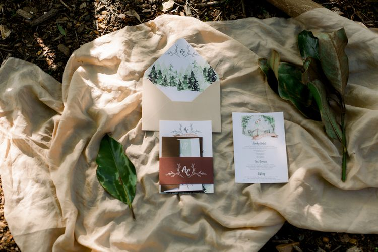Natural Wedding Stationery Design with Trees