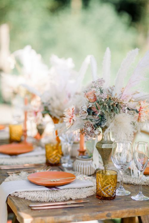 Dried Flowers in Vessels as Table Centrepiece