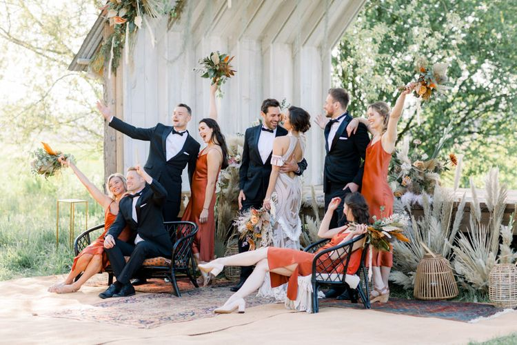Fun Wedding Party Portrait with Bridesmaids and Groomsmen Standing Together