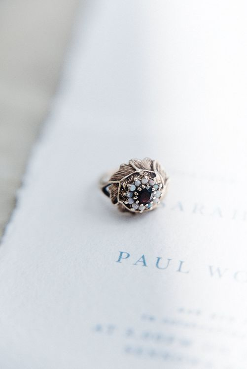 Vintage Wedding Ring // Winter Wedding Inspiration At Sennowe Park Norfolk With Cornflower Blue And Gold Details With Images From Salsabil Morrison Photography