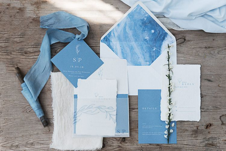 Blue Wedding Stationery Suite // Winter Wedding Inspiration At Sennowe Park Norfolk With Cornflower Blue And Gold Details With Images From Salsabil Morrison Photography